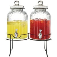 Double 1.38 Gallon Style Setter Springfield Glass Beverage Dispenser with Metal Stand