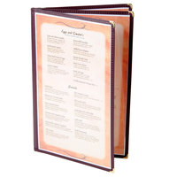Menu Solutions SE340D-BURG 8 1/2 inch x 14 inch Burgundy Triple Panel Booklet Menu Jacket with 6 Views