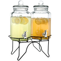 The Jay Companies 210927-GB Double 1 Gallon Style Setter Laredo Octagon Glass Beverage Dispenser with Metal Stand