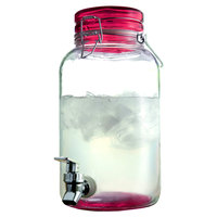 1 Gallon Style Setter Red Round Mason Glass Beverage Dispenser