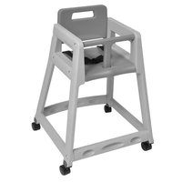 Koala Kare KB850-01W Gray Assembled Stackable Plastic High Chair with Casters
