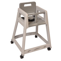 Koala Kare KB850-01W Gray Assembled Stackable Plastic High Chair with
