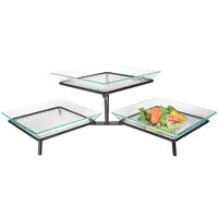 Cal-Mil GL1600-13 Black Glacier Two Tier Display Riser with Acrylic Platters - 31 1/2 inch x 14 inch x 9 inch