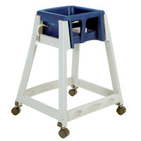 Koala Kare KB877-04W KidSitter Grey Assembled Convertible Plastic High Chair with Blue Seat and Casters