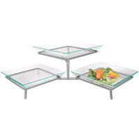 Cal-Mil GL1600-39 Platinum Glacier Two Tier Display Riser with Acrylic Platters - 31 1/2 inch x 14 inch x 9 inch