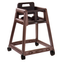 Koala Kare KB850-09W-KD Brown Ready to Assemble Stackable Plastic High Chair with Casters