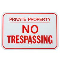 Private Property / No Trespassing Red Aluminum Composite Sign - 18 inch x 12 inch P-23