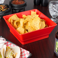 HS Inc. HS1054 9 inch Red Chile Square Serving Basket - 24/Case