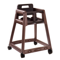 Koala Kare KB850-09W Brown Assembled Stackable Plastic High Chair with