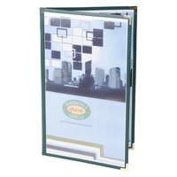 8 1/2 inch x 14 inch Menu Solutions SE310D-GREEN Double Panel Menu Jacket with 4 Views - Green
