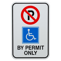 Handicapped Parking By Permit Only Aluminum Composite Sign - 12 inch x 18 inch P-147