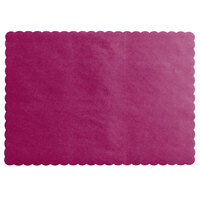 Choice 10 inch x 14 inch Burgundy Colored Paper Placemat with Scalloped Edge   - 1000/Case