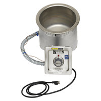 Wells SS8TDUCI 7 Qt. Round Insulated Drop In Soup Well with Drain and Cord - Top Mount, Thermostatic Control