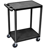 Luxor HE32-B Black 2 Shelf Utility Cart