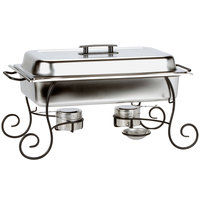 Choice 8 Qt. Full Size Chafer Set with Black Wrought Iron Stand, Black Plastic Lid Handle, and Fuel