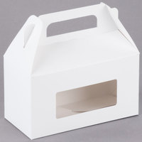 1-Piece 1 lb. Rectangle Window Candy Box White 6 3/8 inch x 3 inch x 3 1/2 inch   - 250/Case