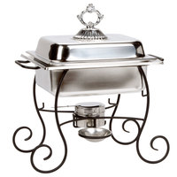 Choice 4 Qt. Half Size Chafer Set with Black Wrought Iron Stand, Classic Lid Handle, and Fuel