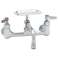 T&S B-0233-01 Wall Mounted Pantry Faucet with 8 inch Adjustable Centers, 6 inch Swing Nozzle, and Soap Dish