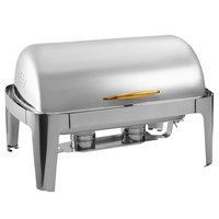 Choice Supreme 8 Qt. Full Size Roll Top Gold Trim Chafer