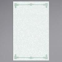 8 1/2 inch x 14 inch Green Menu Paper - Scroll Border - 100/Pack