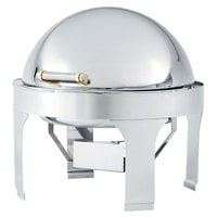 Vollrath 46265 6 Qt. New York, New York Retractable Dripless Round Chafer with Brass Trim