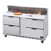 Beverage Air SPED60-08C-4 60 inch 4 Drawer Cutting Top Refrigerated Sandwich Prep Table with 17 inch Wide Cutting Board