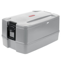 Rubbermaid FG940700PLAT CaterMax 29 1/2 inch x 19 inch x 15 1/2 inch Platinum Top Loading Insulated 4-Pan Carrier