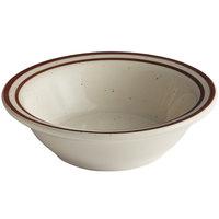 Choice 4 oz. Brown Speckle Narrow Rim Stoneware Fruit / Monkey Dish - 36/Case