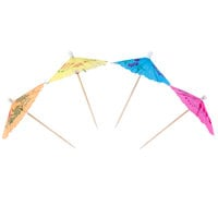 Royal Paper RP144 4 inch Drink Umbrella / Parasol Pick with Assorted Colors - 144/Box