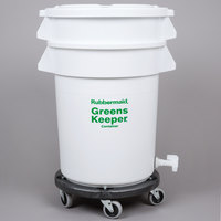 Rubbermaid FG262400WHT Brute GreensKeeper 20 Gallon Vegetable Crisper Container with Lid and Dolly