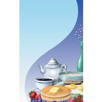 8 1/2 inch x 14 inch Menu Paper - Breakfast Themed Table Setting Design Cover - 100/Pack