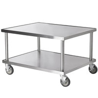 Vollrath 4087936 36 inch x 30 inch Stainless Steel Heavy Duty Mobile Equipment Stand with Undershelf and Casters