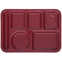 Carlisle 4398085 10 inch x 14 inch Dark Cranberry Heavy Weight Melamine Left Hand 6 Compartment Tray