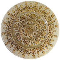 10 Strawberry Street MON-340BEI-GOLD 13 1/4 inch Monaco Beige/Gold Glass Charger Plate