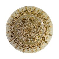 10 Strawberry Street MON-340-BEI-GOLD 13 1/4 inch Monaco Beige/Gold Glass Charger Plate