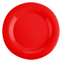 Thunder Group CR010PR 10 1/2 inch Pure Red Wide Rim Melamine Plate - 12/Pack