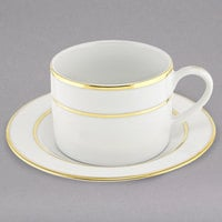 10 Strawberry Street GLD0009 6 oz. Double Line Gold Can Cup with Saucer - 24/Case
