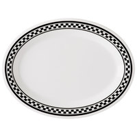 GET OP-135-X 13 1/2 inch x 10 1/4 inch Diamond Chexers Oval Platter - 12/Case