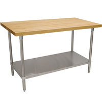 Advance Tabco H2S-247 Wood Top Work Table with Stainless Steel Base and Undershelf - 24 inch x 84 inch