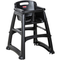 Rubbermaid FG780508BLA Black Sturdy Chair Restaurant High Chair with Wheels - Assembled