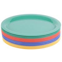 GET OP-135-MIX Diamond Mardi Gras 13 1/2 inch x 10 1/4 inch Oval Melamine Platter, Assorted Colors   - 12/Case