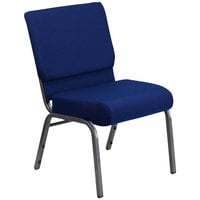 Flash Furniture FD-CH0221-4-SV-NB24-GG Navy Blue 21 inch Extra Wide Church Chair with Silver Vein Frame