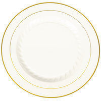 Fineline Silver Splendor 510-BO 10 inch Bone / Ivory Plastic Plate with Gold Bands   - 12/Pack