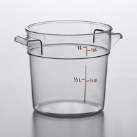 Cambro RFSCW1135 Camwear 1 Qt. Clear Round Food Storage Container