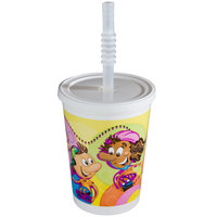 12 oz. Plastic Kids Cup - Rollerskate / Skateboard with Reusable Lid and Straw - 250 / Case