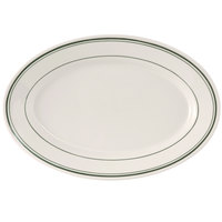 Tuxton TGB-043 Green Bay 14 1/8 inch x 10 inch Eggshell Wide Rim Rolled Edge Oval China Platter with Green Bands - 12/Case