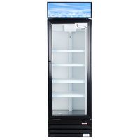 Avantco GDC15 26 inch Black Swing Glass Door Merchandiser Refrigerator with LED Lighting