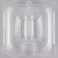 Carlisle 10311U07 StorPlus 1/6 Size Clear Universal Handled Lid with Spoon Notch