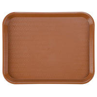 Carlisle CT141831 Customizable Cafe 14 inch x 18 inch Light Brown Standard Plastic Fast Food Tray - 12 / Case