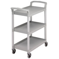 Cambro BC331KD480 Speckled Gray Three Shelf Utility Cart (Unassembled) - 32 7/8 inch x 16 1/4 inch x 38 inch